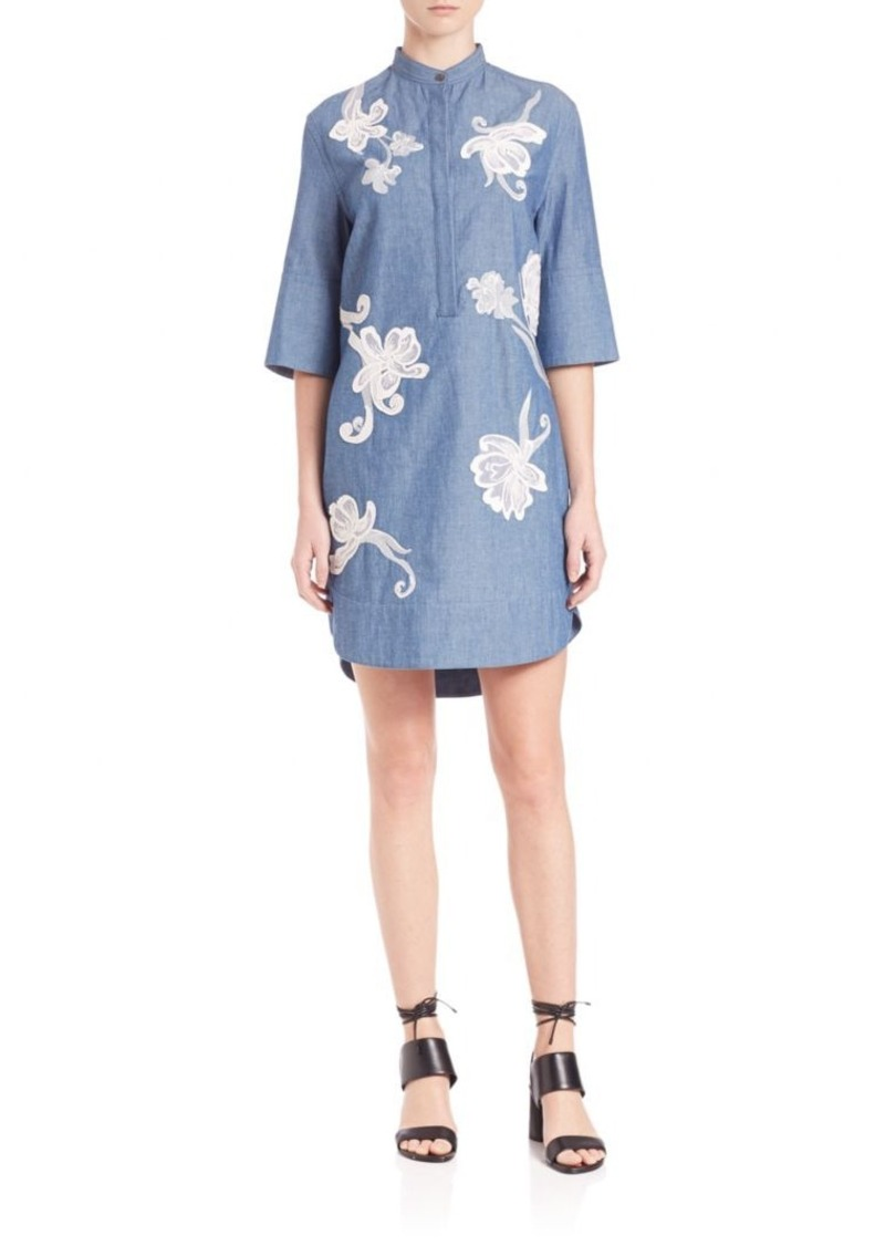3.1 Phillip Lim Floral Embroidered Chambray Dress