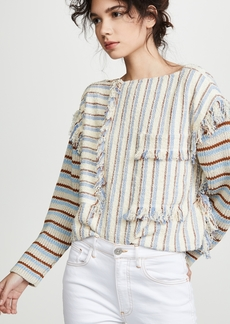 3.1 Phillip Lim Fringe Crop Top with Knit Sleeves