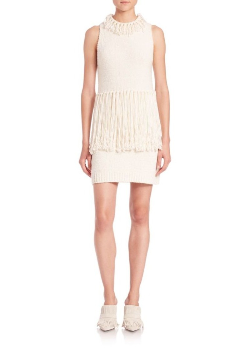 3.1 Phillip Lim Fringe-Trim Knit Sweater Dress