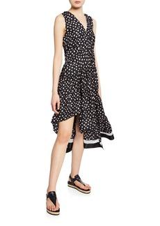3.1 Phillip Lim Gathered Daisy-Print Asymmetrical Midi Dress