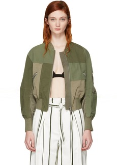 3.1 Phillip Lim Green Patchwork Bomber Jacket