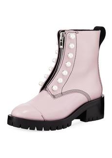 3.1 Phillip Lim Hayett Lug-Sole Zipper Boots w/ Pearly Trim