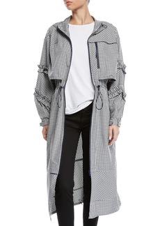 3.1 Phillip Lim Hooded Ruffle Gingham-Print Long Parka Jacket