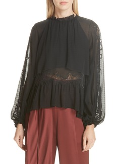 3.1 Phillip Lim Lace Detail Stretch Silk Blouse