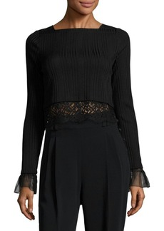 3.1 Phillip Lim Lace-Trim Rib-Knit Cropped Top