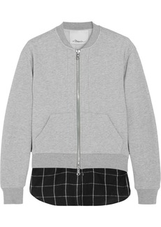 3.1 Phillip Lim Layered cotton-jersey and flannel bomber jacket