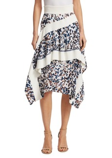 3.1 Phillip Lim Layered Painted Dot Silk Ruffle Skirt