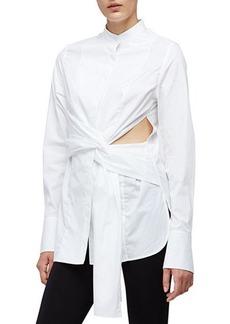3.1 Phillip Lim Long-Sleeve Cotton Side-Slit Blouse