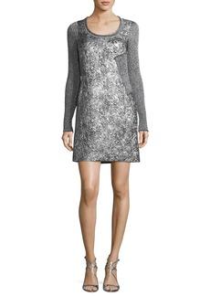 3.1 Phillip Lim Long-Sleeve Metallic Rib-Knit Combo Dress