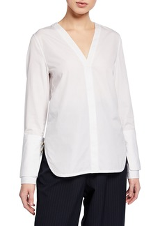 3.1 Phillip Lim Long-Sleeve Poplin Top with Pearl Cuffs