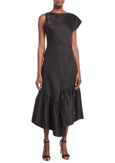 3.1 Phillip Lim One-Shoulder Asymmetric Midi Cocktail Dress w/ Embellishment