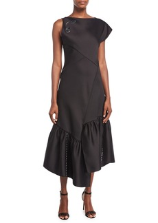3.1 Phillip Lim One-Shoulder Asymmetric Midi Cocktail Dress w/ Embellishment