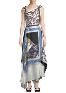 3.1 Phillip Lim Patchwork Handerkerchief Printed Silk Maxi Dress