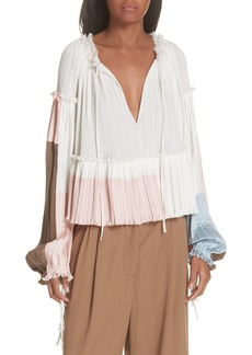 3.1 Phillip Lim Pleated Peplum Top