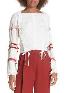 3.1 Phillip Lim Pleated Tie Ruched Blouse