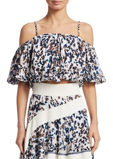 3.1 Phillip Lim Printed Cold-Shoulder Silk Crop Top