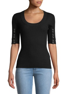 3.1 Phillip Lim Ribbed 3/4-Sleeve Sweater w/ Button Details
