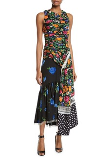 3.1 Phillip Lim Ruched Patchwork Floral Silk Dress with Chain Fringe