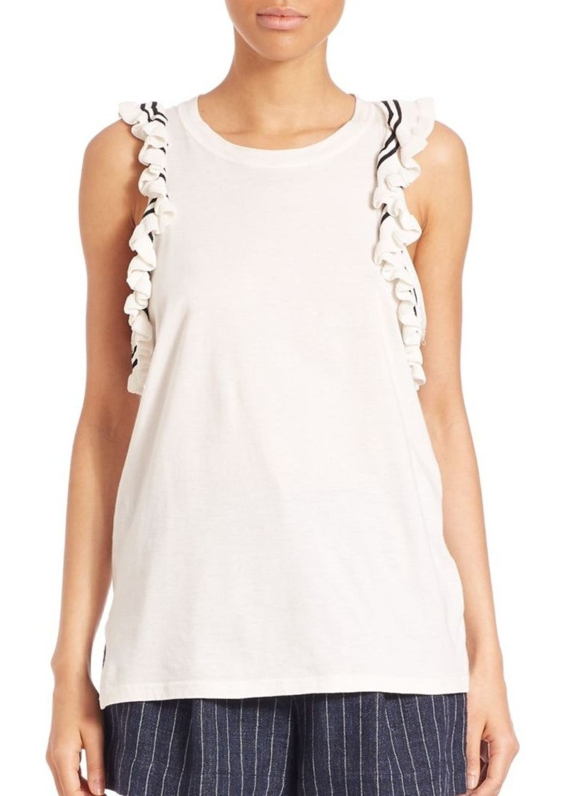 3.1 Phillip Lim Ruffle-Trimmed Cut-In Tank Top