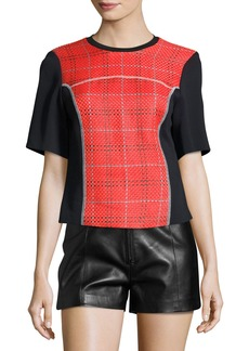 3.1 Phillip Lim Short-Sleeve Boxy Surf Plaid Top