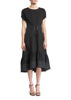 3.1 Phillip Lim Short-Sleeve Corset-Waist Midi Dress