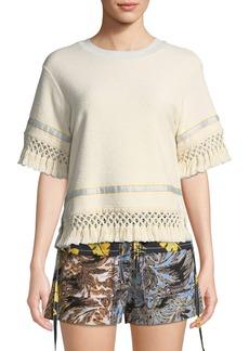 3.1 Phillip Lim Short-Sleeve Cotton Fringe Top