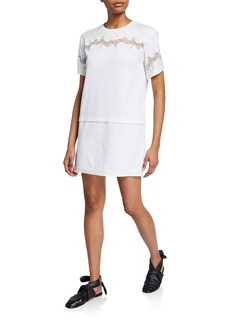 3.1 Phillip Lim Short-Sleeve Lace-Inset T-Shirt Dress