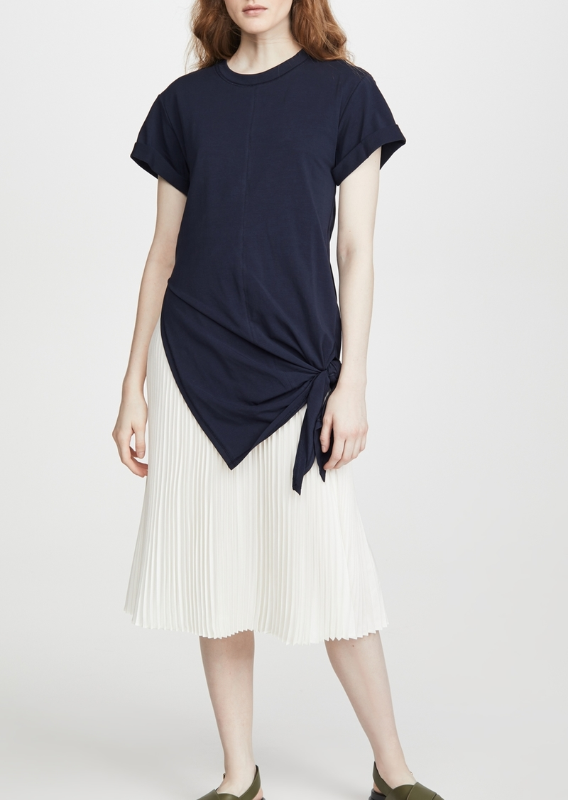 3.1 Phillip Lim Short Sleeve Side Tie Dress with Pleating