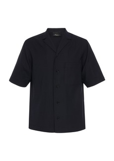 3.1 Phillip Lim Short Sleeve Wool Poplin Notch Lapel Shirt
