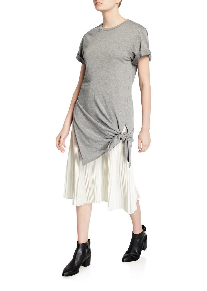 3.1 Phillip Lim Side-Tie Crewneck Tee Dress with Pleating
