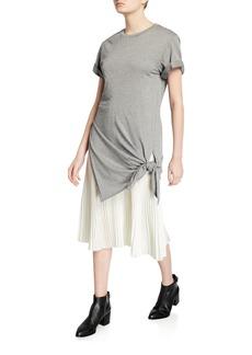 3.1 Phillip Lim Side-Tie Crewneck Tee Dress with Pleating