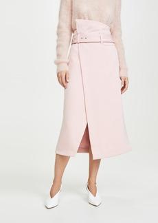 3.1 Phillip Lim Side Wrap Midi Structured Twill Skirt