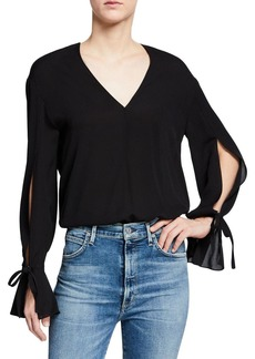 3.1 Phillip Lim Silk Tie-Sleeve V-Neck Blouse