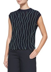 3.1 Phillip Lim Sleeveless Thread-Wave Pullover Sweater