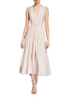 3.1 Phillip Lim Sleeveless V-Neck Belted Dress with Lace