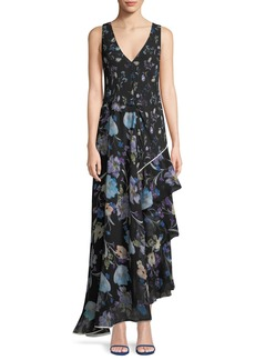 3.1 Phillip Lim Sleeveless V-Neck Floral-Print Silk Maxi Dress