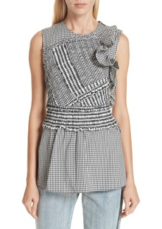 3.1 Phillip Lim Smocked Gingham Top