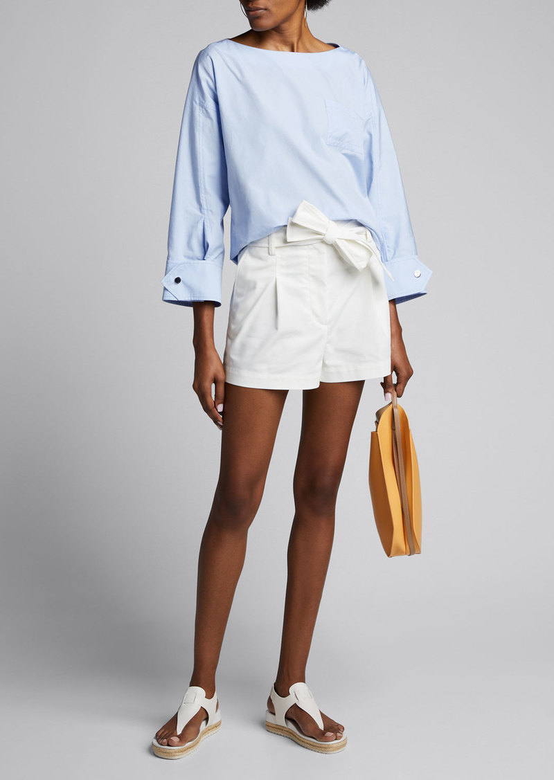 3.1 Phillip Lim Snap-Cuff Poplin Long-Sleeve Blouse