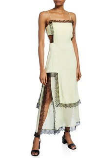3.1 Phillip Lim Square-Neck Sleeveless Slit Dress with Lace & Cutouts