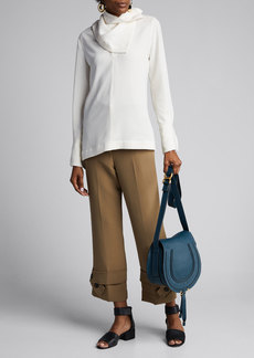 3.1 Phillip Lim Straight-Leg Crepe Trousers with Belted Cuffs
