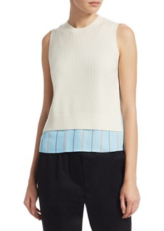 3.1 Phillip Lim Stripe Silk & Knit Top