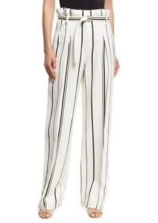 3.1 Phillip Lim Striped Belted Paperbag-Waist Pants
