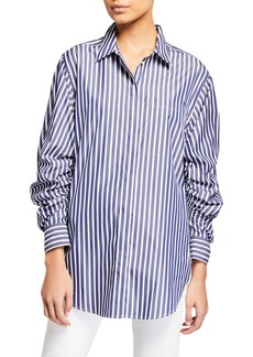 3.1 Phillip Lim Striped Button-Down Gathered Sleeve Shirt