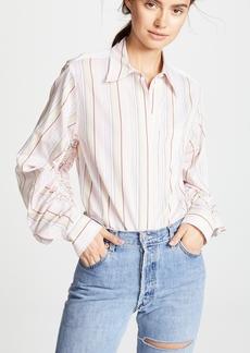 3.1 Phillip Lim Striped Gathered Sleeve Shirt
