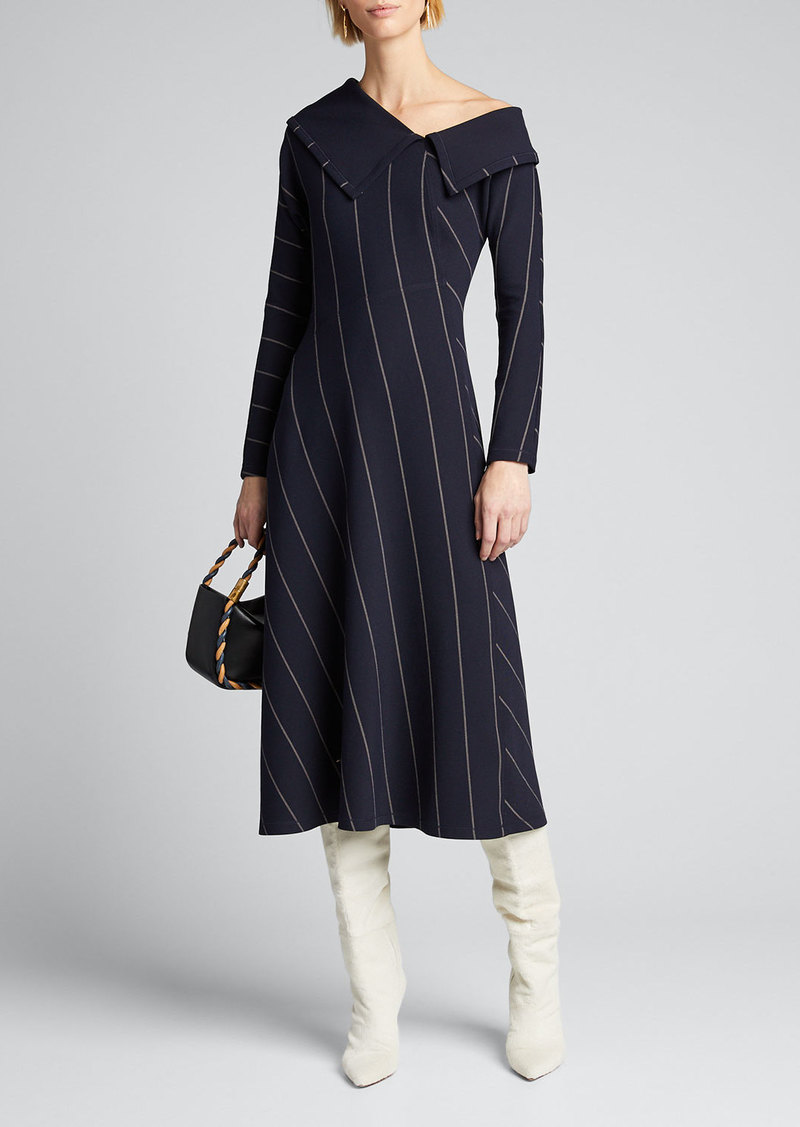 3.1 Phillip Lim Striped Off-Shoulder Midi Dress