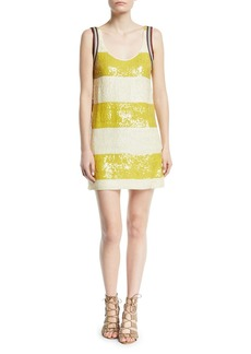 3.1 Phillip Lim Striped Sequin Shift Mini Dress
