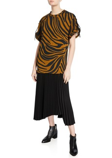 3.1 Phillip Lim Tiger-Striped Tie-Sleeve Pleated Dress