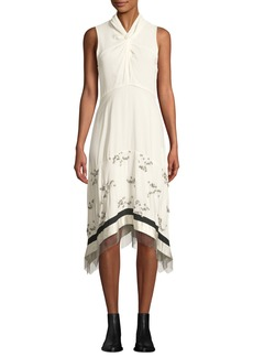3.1 Phillip Lim Twist-Front Embellished Silk Sleeveless Dress with Chain Fringe