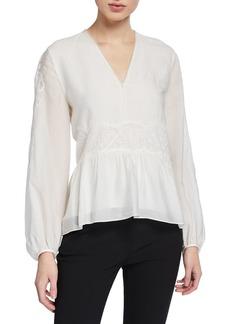 3.1 Phillip Lim V-Neck Blouson-Sleeve Silk Lace Top
