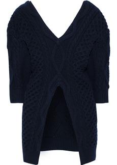 3.1 Phillip Lim Woman Aran Split-front Cable-knit Wool Sweater Midnight Blue